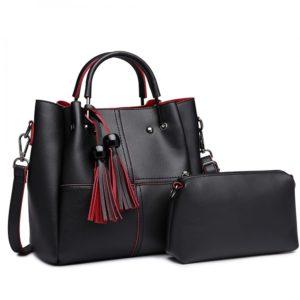 2 in 1 Bucket Bag in Black With Tassles