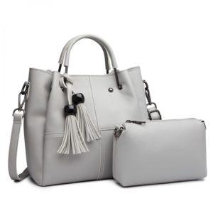 2 in 1 Bucket Bag in Grey With Tassles