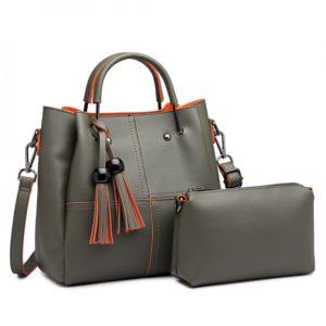 2 in 1 Bucket Bag in Dark Green With Tassles
