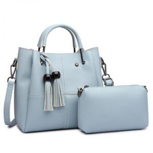 2 in 1 Bucket Bag in Blue With Tassles