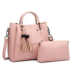 2 in 1 Bucket Bag in Pink With Tassles